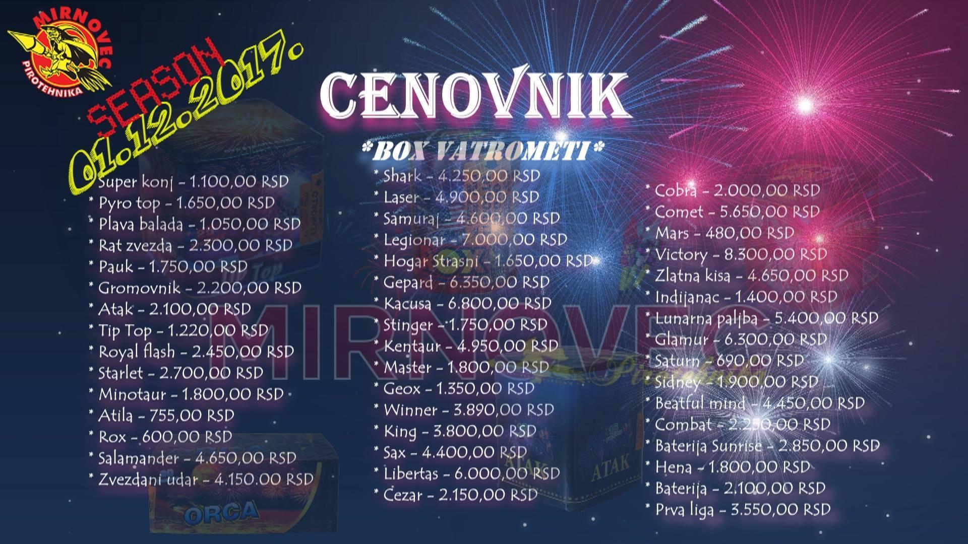 Cenovnik - Box Vatrometi